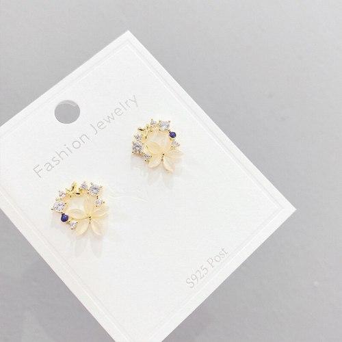 Cute Opal Flower Rhinestone-Embedded Stud Earrings Sterling Silver Needle Stud Earrings Female All-Matching Graceful Petals