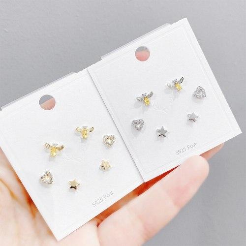 Sterling Silver Needle Bee Personality Female Stud Earrings Korean Exquisite One Card Three Pairs Suit Simple Earrings
