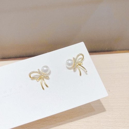 Sterling Silver Needle Korean Vintage Pearl Bow Stud Earrings Simple All-Match Petite Earrings Earrings for Women