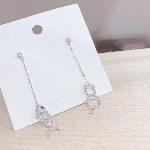 925 Silver Needle Korean Diamond Asymmetric Long Tassel Ear Studs Earrings Personalized Earrings