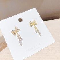 Sterling Silver Needle Korean Internet Celebrity Sweet Bow Rhinestone Earrings Simple Graceful Earrings Ear Studs