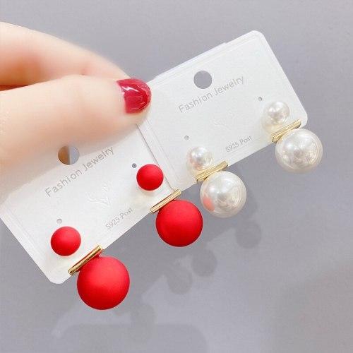 Full Diamond Pearl Stud Earrings Fashion Personalized and Temperamental Earrings Women's Sterling Silver Needle Earrings