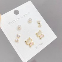 Sterling Silver Needle Gold Three Pairs Storage Ear Studs Simple All-Match Ornament