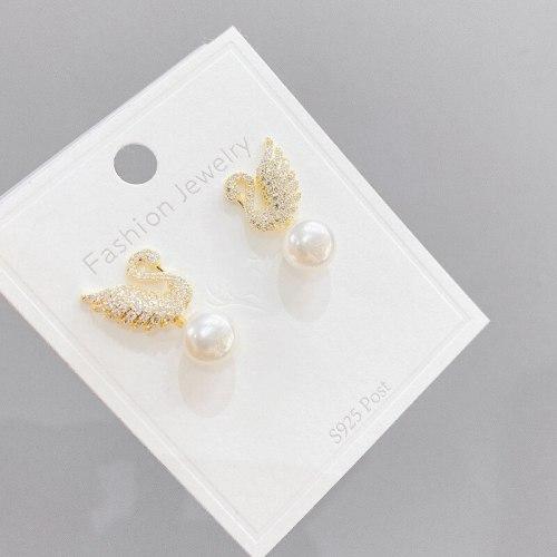 Sterling Silver Needle Swan Stud Earrings Women's Simple Internet Influencer Earrings Micro Inlaid Zircon Pearl Stud Earrings