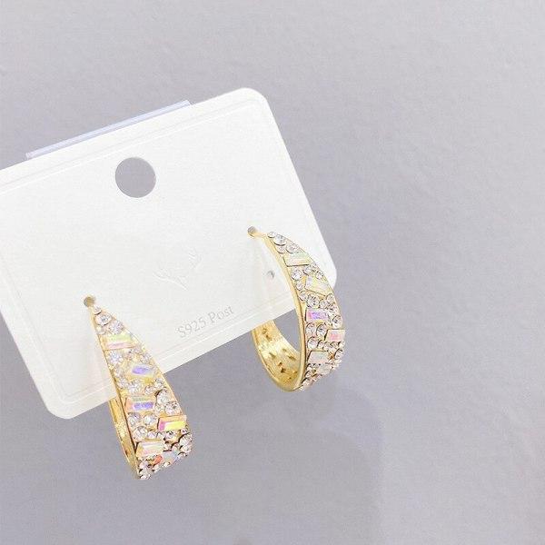 European and American High Profile Fashion Graceful Geometric Sterling Silver Needle Earrings Zircon Female Stud Earrings