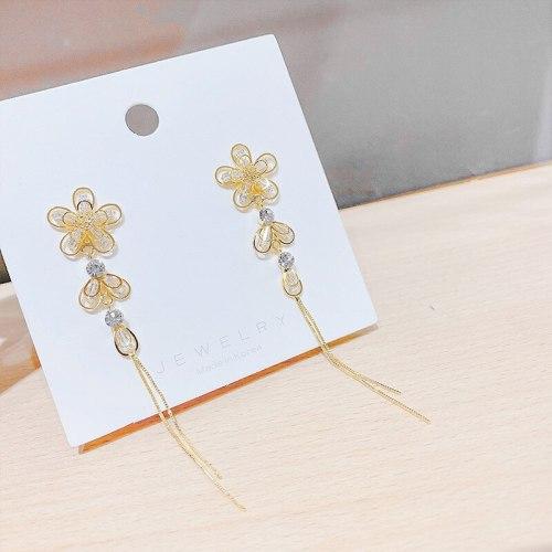 S925 Korean Personality Hollow out Petal Fringed Earrings All-Match Long Eardrops Crystal Stud Earrings for Women