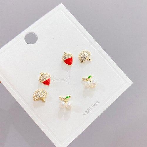 Korean Multi-Pair Set Earrings Sterling Silver Needle Temperament Earrings Three Pairs Zircon Pearl Stud Earrings