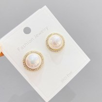 Sterling Silver Needle Simple Korean Fashion Stud Earrings Simple All-Match Full Diamond Mesh Red Women's Pearl Stud Earrings