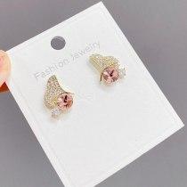 2021 New Zircon Ginkgo Leaf Personalized Simple Stud Earrings Female S925 Silver Needle Korean Small Earrings Jewelry