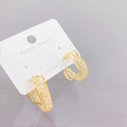 Sterling Silver Needle Korean Style Zircon Tassel Earrings for Women Exaggerated Glazed Surface Ear Stud Earrings