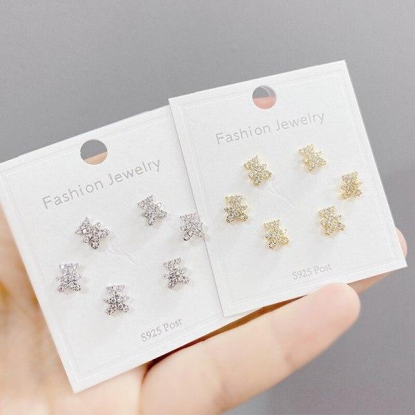One Card Three Pairs Fashion Three-Piece Set Stud Earrings Simple Micro Inlaid Zircon 925 Silver Stud Earrings