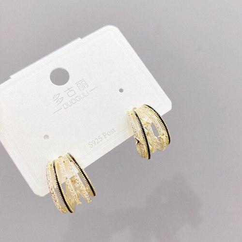 Korean Multi-Layer Micro-Inlaid Zircon Claw-Shaped Stud Earrings Jewelry S925 Silver Needle Beautiful Stud Earrings