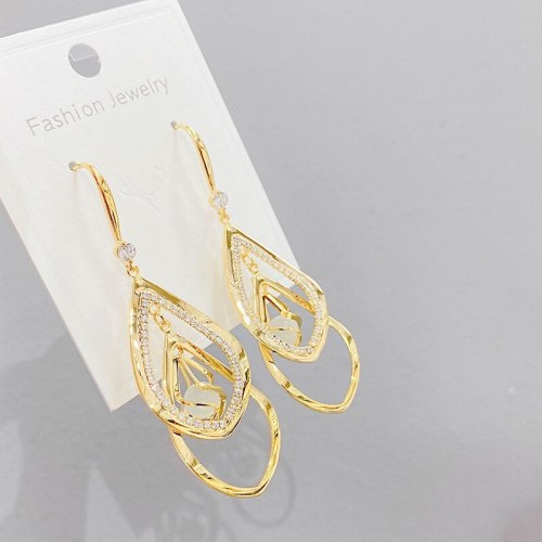 Earrings Simple Square Pendant Earrings Multi-Layer Geometric Hollow Jeweled Tassel Sterling Silver Needle Earrings