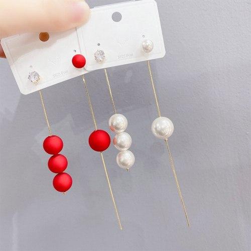 Sterling Silver Needle Long Pearl Tassel Earrings Korean Simple Temperamental Ins Frosty Style Earrings