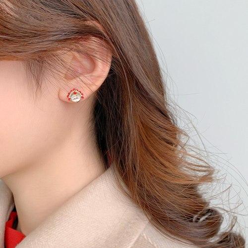 Sterling Silver Needle Personality Metal Rhinestone Pearl Facial Makeup Petite Earrings Earring Ornament