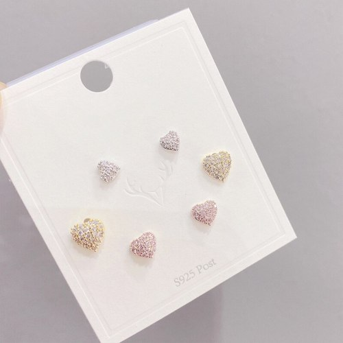 Korean Earrings Women's Sterling Silver Needle Earrings with Diamonds round Studs Three Pairs Set of Ornaments
