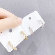 Snake Bone Micro-Inlaid Full Diamond Earrings Internet Celebrity Earrings Ear Studs Female Sterling Silver Needle 14K Real Gold