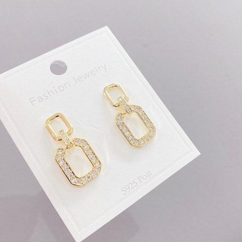 Korean Style 925 Silver Needle Simple Square Personality Stud Earrings All-Match Temperament Geometric Earrings Earrings