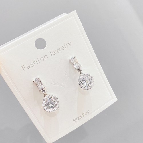 Korean Style Elegant Zircon Stud Earrings Internet Celebrity Simple Wild Earrings Sterling Silver Needle Eardrop Earring