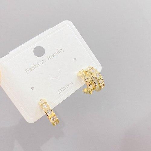 Sterling Silver Needle Korean French Style Vintage Pearl C- Shaped Stud Earrings Personalized Earrings Earrings for Women