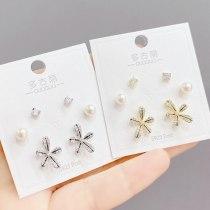 New Set Fashion Personalized Stud Earrings 3PCs/Set S925 Silver Needle Earrings for Women
