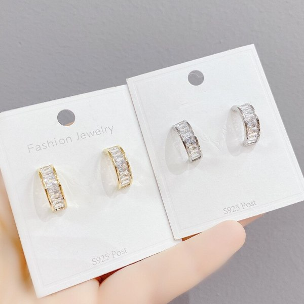 Exquisite Micro Zircon-Encrusted Stud Earrings Petite Earrings Female Earrings Sterling Silver Needle