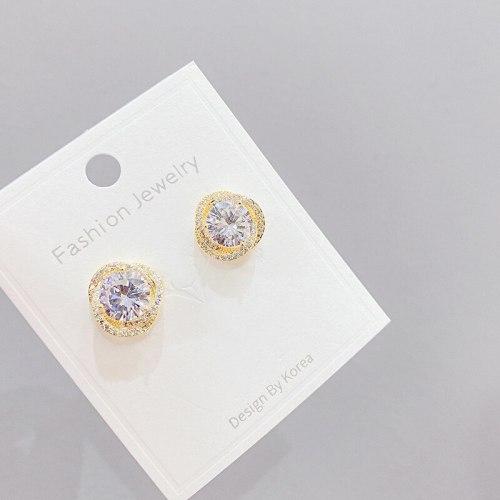 Korean Style Earrings Micro-Inlaid Diamond round Zircon Stud Earrings Female Sterling Silver Needle Earrings Earrings
