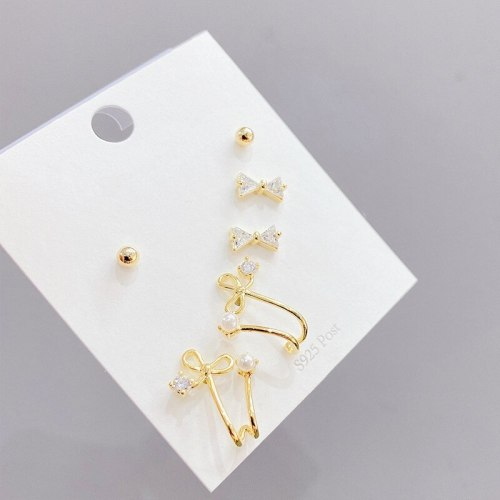 Earrings Sterling Silver Needle Micro Inlaid Zircon Bowknot Earrings Simple One Card Multi-Pair Earings Set for Women