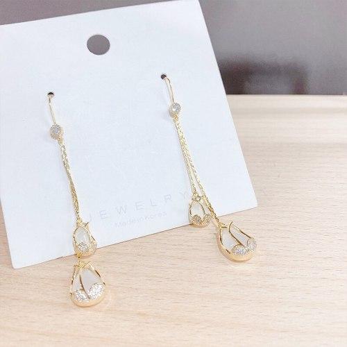 Stud Earrings Sterling Silver Needle White Chalcedony Stud Earrings All-Matching Tassel Carnation Flower Stud Earrings