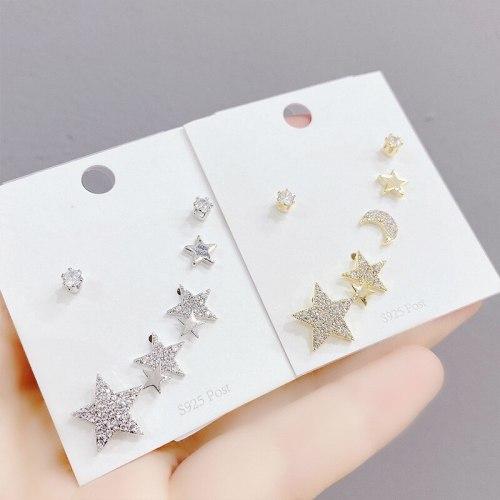 Sterling Silver Needle Earrings Set Simple Zircon Micro Inlaid Zircon Pentagram Stud Earrings Female