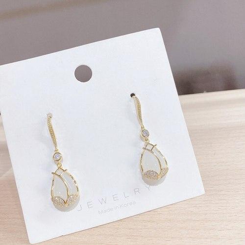 Sterling Silver Needle Carnation Stud Earrings for Women Chalcedony Flower Earrings Long Korean Eardrops
