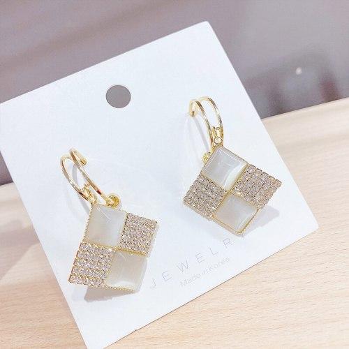 Simple Elegant Personality Square Rhinestone Opal Stone Ear Studs Korean Fashion Earrings Sterling Silver Needle