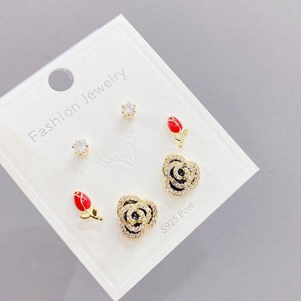 Korean Multi-Pair Set Earrings Sterling Silver Needle Elegant Earrings Three Pairs of Zircon Earrings Gold Plated
