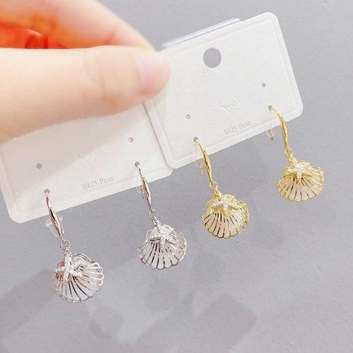 Korean New Sterling Silver Needle Earrings Super Shiny Rhinestone-Encrusted Imitation Pearl Shell Temperament Ear Stud Earring