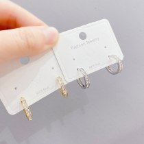 New Micro-Inlaid Ear Clip Trendy Unique 14K Gold Earrings Cold Wind Net Red Earrings Ear Studs
