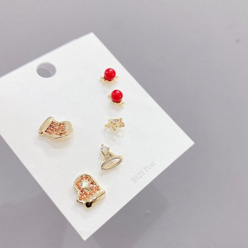 Korean Earrings Sterling Silver Needle Temperament Earrings Female Stud Earrings Three Pairs of Zircon Earrings Gold Plated