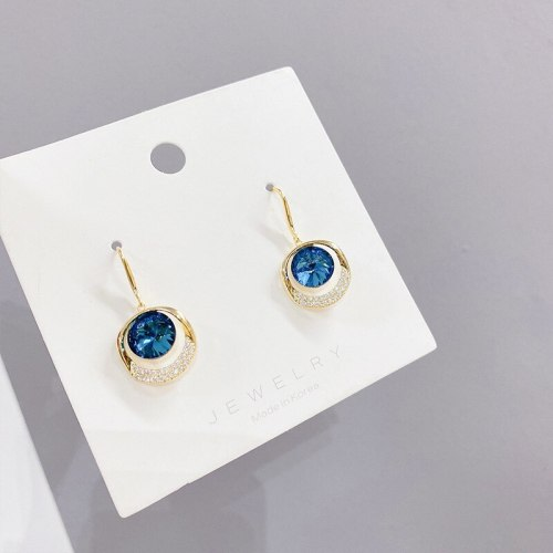 Sterling Silver Needle Diamond Circle Ear Studs Personalized and Simple Earrings Internet-Famous Versatile Earrings Earrings