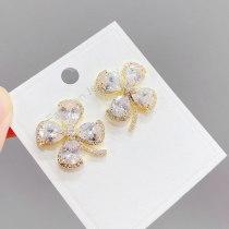 S925 Silver Needle Micro-Inlaid Zircon Lucky Clover Stud Earrings Women's Light Luxury Earrings Jewelry