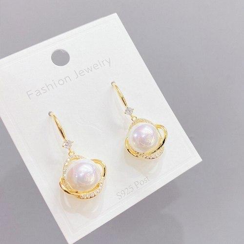 Korean Pearl Earrings Retro Geometric New Trendy Style 925 Silver Needle Temperament and Fully-Jewelled Female Stud Earrings