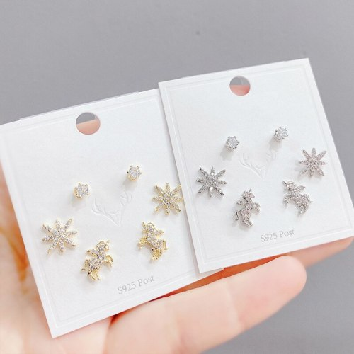 Sterling Silver Needle Micro Inlaid Zircon Unicorn Three-Piece Earrings Eight Awn Star One Card Three Pairs Combination Earrings