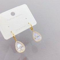 Micro Inlaid Zircon Long Earrings Women's Fashion Personalized Long Ear Clip 14K Gold Earrings Jewelry Jewelry