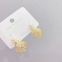 Sterling Silver Needle Korean Minimalist Summer Earrings Internet Celebrity Exaggerated Pearl Earrings for Women New Earrings