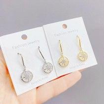 Sterling Silver Needle Eight Awn Star Earrings Internet Celebrity Diamond Graceful Personality Cat's Eye Earrings