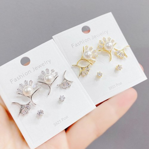 Sterling Silver Needle Micro Inlaid Zircon Pearl Three-Piece Earrings Personality One Card Three Pairs Combination Earrings
