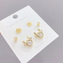 New Sterling Silver Needle Gold Three Pairs Female Stud Earrings Simple All-Match Micro Inlaid Zircon Earrings