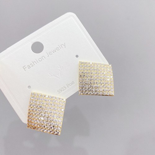 Korean Sterling Silver Needle Full Diamond Square Earrings European and American Personalized Exaggerated Earrings Ear Studs