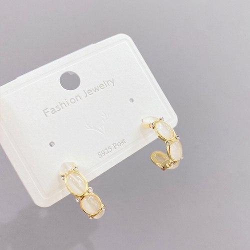 925 Silver Needle Korean Geometric Snake Bone Earrings Temperament Opal Stone Ear Studs Internet Celebrity Simple Earrings Women