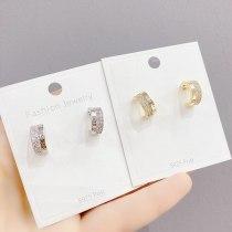 Sterling Silver Needle Stud Earrings for Women Korean Fashion Earrings Micro Inlaid Zircon Stud Earrings Earring Ornament