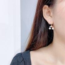 Sterling Silver Needle Small Diamond Cute and Graceful Earrings Rainbow Earrings Micro Inlaid Zircon