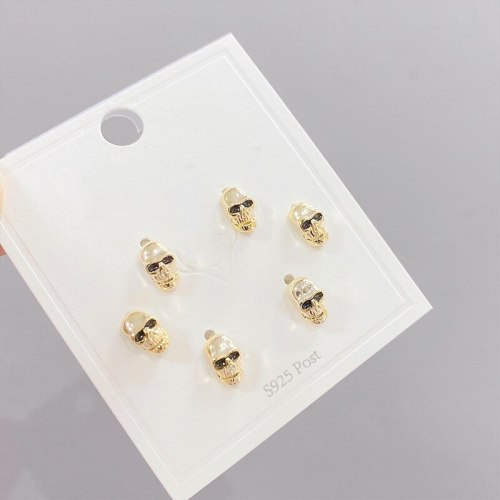 Micro Inlaid Zircon Skull Three-Piece Earrings Personality One Card Three Pairs Combination Sterling Silver Needle Earrings